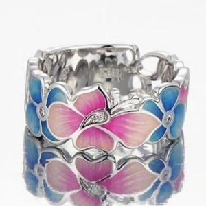 ❤️gorgeous 925 silver multicolor flower ring 6/7